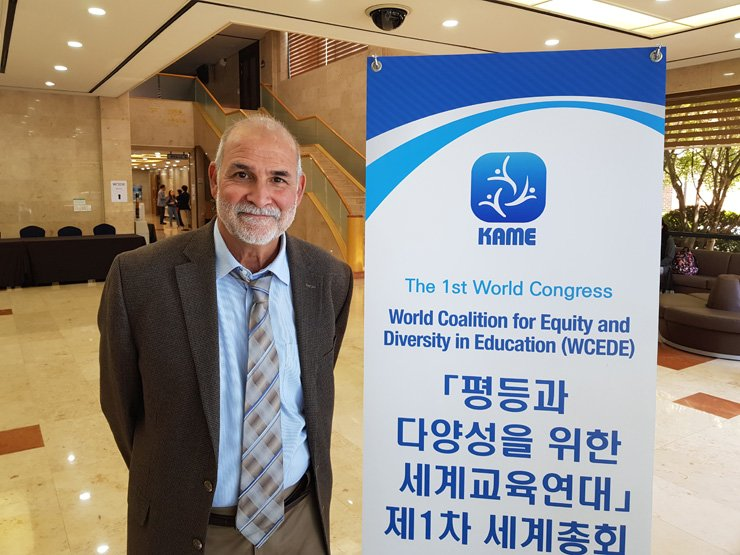 President of the World Coalition for Equity and Diversity in Education Francisco Rios poses during the congress held at Hoam Faculty House at Seoul National University, Seoul, Wednesday. / Korea Times photo by Kim Jae-heun