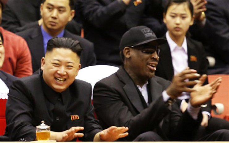 Kim Jong-un, left, and Dennis Rodman.