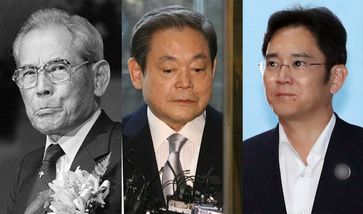 From right, Lee Jae-yong; his father Lee Kun-hee and his grandfather Lee Lee Byung-chul. / Yonhap