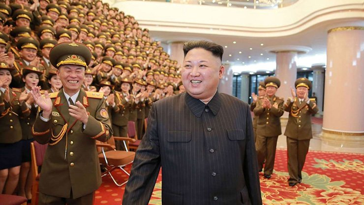 North Korean leader Kim Jong-un visits the People's Theatre to mark the 70th anniversary of the founding of the State Merited Chorus in Pyongyang.
