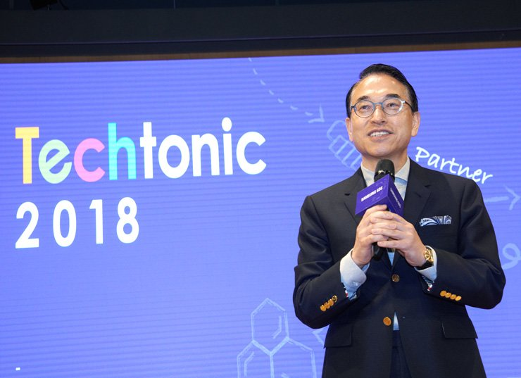 Samsung SDS CEO Hong Won-pyo speaks during Samsung SDS Techtonic 2018 developer conference at the firm's headquarters in Jamsil, southeastern Seoul, Thursday. / Courtesy of Samsung SDS