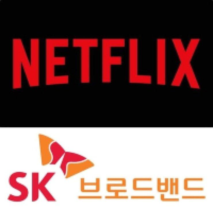 Logos for Netflix and SK Broadband / Korea Times file