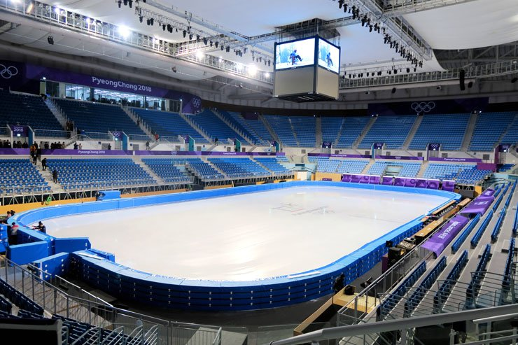 Inside of the Gangneung Ice Arena / Korea Times photo by Yun Suh-young