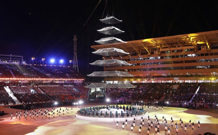 The 'light of harmony' performance takes place during the closing ceremony of the 2018 PyeongChang Winter Olympics on Feb. 25 at the Olympic Stadium in PyeongChang, Gangwon Province.  /  Korea Times photo by Shim Hyun-chul