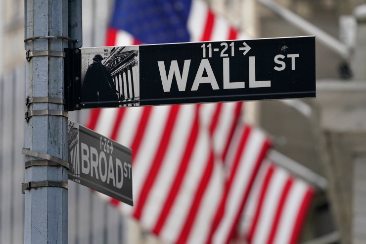 A street sign is displayed at the New York Stock Exchange in New York, Nov. 23. AP-Yonhap