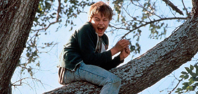 Leonardo DiCaprio in a scene from 'Revenant' (top) and 'What's Eating Gilbert Grape' (1993)
