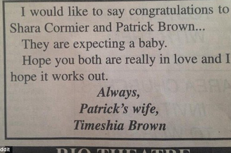Angry: This is the newspaper advertisement that names and shames Patrick Brown and Shara Cormier for their alleged affair by the scorned wife of Patrick. / Reddit