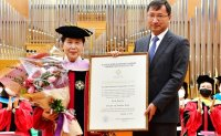 Veteran actress receives honorary doctoral degree from KazNUA