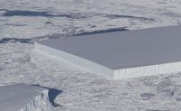 Rare big rectangular iceberg floating off Antarctica