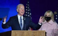 Biden says he believes he is 'on track' to win US election