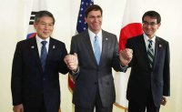 South Korea, US, Japan defense chiefs meet amid North Korea, GSOMIA tension