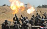 North Korean leader supervises mortar firing drill
