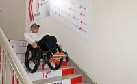 Albanian para-cyclist sets Guinness record in 'Most stairs descended in a wheelchair'