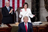 Trump-Pelosi feud erupts during speech to Congress as impeachment trial nears end