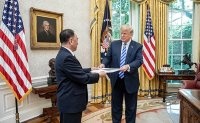 Trump meeting with North Korean envoy ends with hand shake