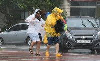 Typhoon makes landfall, veers away from Seoul