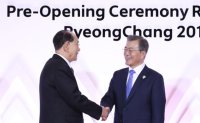 Moon welcomes North Korea's figurehead at Olympic reception