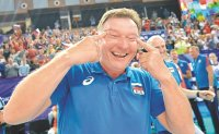 Korean volleyball body files complaint over Russian coach's racist gesture
