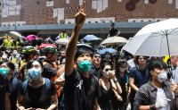Protesters gather again outside Hong Kong government offices