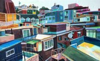 Artist captures Seoul neighborhoods with acrylic, embroidery