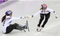 Female short track skaters shatter two Olympic records