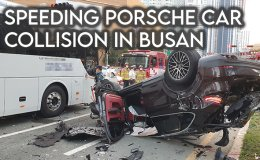 Speeding Porsche crashes into Grandeur sedan, causing seven vehicle collision in Busan [VIDEO]
