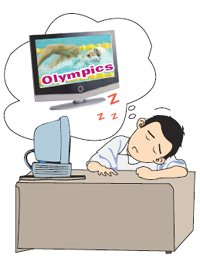 Olympic fans struggle to stay awake at work
