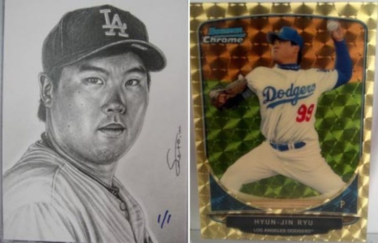 2013 Topps Museum Collection sketch card(left) and 2013 Bowman Chrome Cream of the Crop Mini Superfractor.