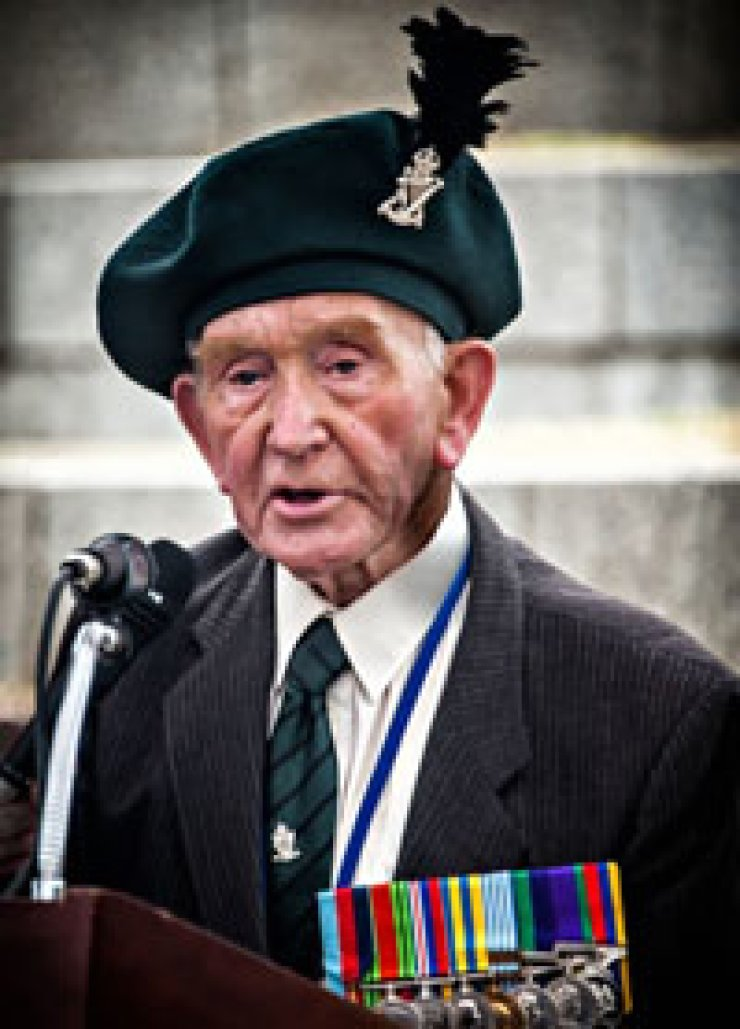 Irish veteran Mark McConnell recites his 'Korean Lament' at the dedication ceremony at the War Memorial in Yongsan, Seoul, April 25./ Courtesy of Tom Coyner