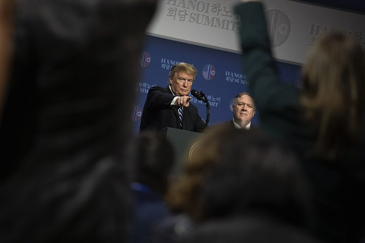 U.S. President Donald Trump holds a news conference after his summit with North Korean leader Kim Jong-un at the JW Marriott hotel in Hanoi, Vietnam, Feb. 28, 2019. Korea Times photo by Choi Won-suk