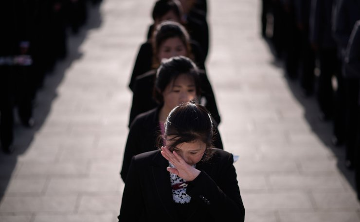 <span>A woman wiper her eyes as she waits to pay her respects before the statues of late North Korean leaders Kim Il Sung and Kim Jong Il, as part of celebrations marking the anniversary of the birth of Kim Il Sung, known as the 'Day of the Sun', on Mansu hill in Pyongyang on April 15, 2019. AFP</span><br /><br />
