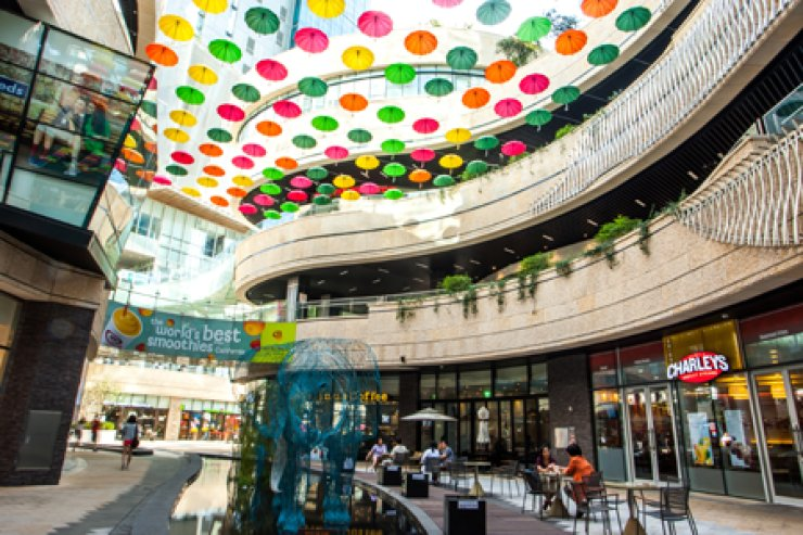 Mecenatpolis is a new commercial district connected to Hapjeong Station that includes residential towers, office space and a shopping mall. <br />/ Courtesy of Mecenatpolis Mall