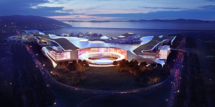 This is an artistic rendition of the 1.54-trillion-won Inspire Integrated Resort, which will be built by a consortium led by U.S. casino operator Mohegan Sun and Korean chemicals maker KCC Corp., consisting of a casino, a luxury hotel and a shopping area, as well as a K-pop entertainment arena and convention venues, by 2019. / Courtesy of Incheon International Airport Corporation