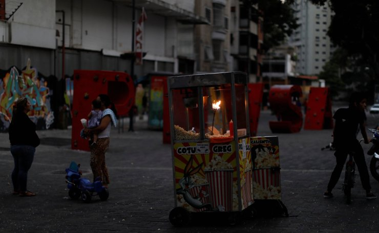 A popcorn stand is seen during the second day of a blackout in Caracas, Venezuela March 9, 2019. Reuters
