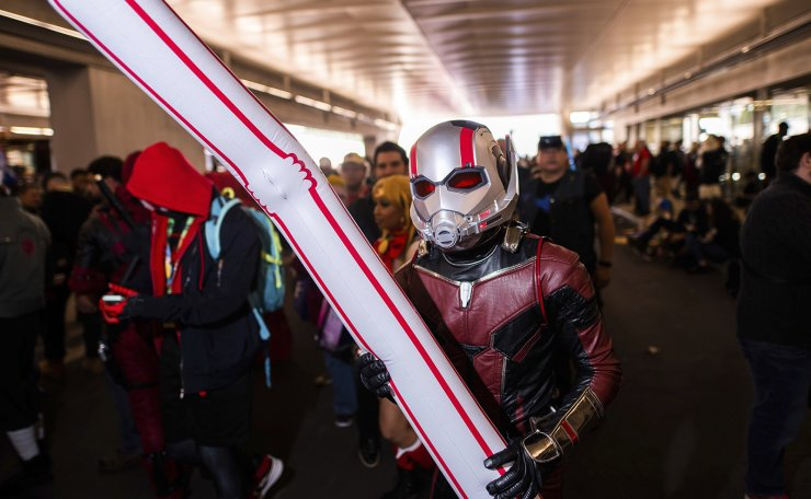 An attendee dressed as Ant-Man poses during New York Comic Con at the Jacob K. Javits Convention Center on Saturday, Oct. 5, 2019, in New York. AP