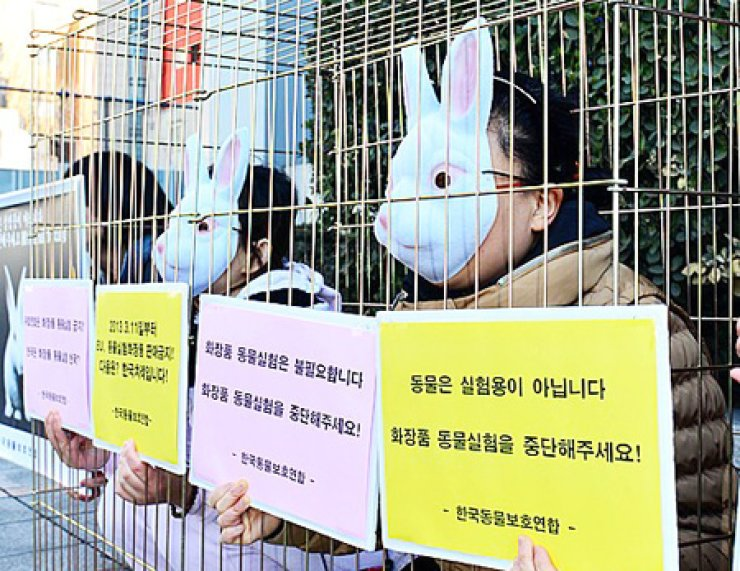 Wearing masks, activists from the advocacy group Korea Association for Animal Protection stage an anti-animal testing protest in front of a building of a cosmetic company based in Yongsan-Gu, Seoul in this file photo.                                              / Courtesy of Korea Association for Animal Protection