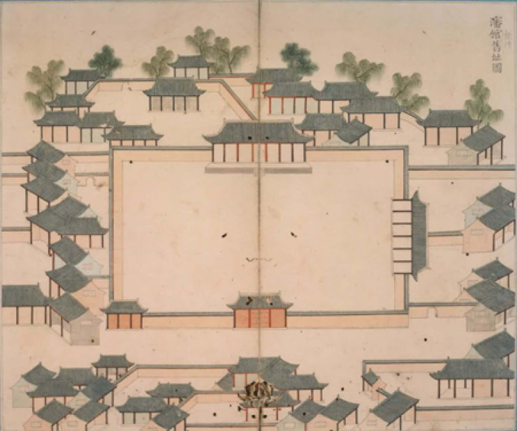 King Yeongjo directed 18-century painter Lee Pil-seong to draw the birthplace of King Hyeonjong in Shenyang, Qing Dynasty. Hyeonjong was born in 1641 as the eldest son of King Hyojong as Yi Yeon, while his father was in China as captive of Qing Dynasty. This painting was part of a 2011 exhibition at the National Museum of Korea in Yongsan, Seoul. / Korea Times file