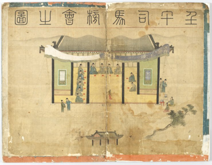 'Imosamabanghoedo' shows the friendship of scholars and officials in Joseon Kingdom. / The Academy of Korean Studies