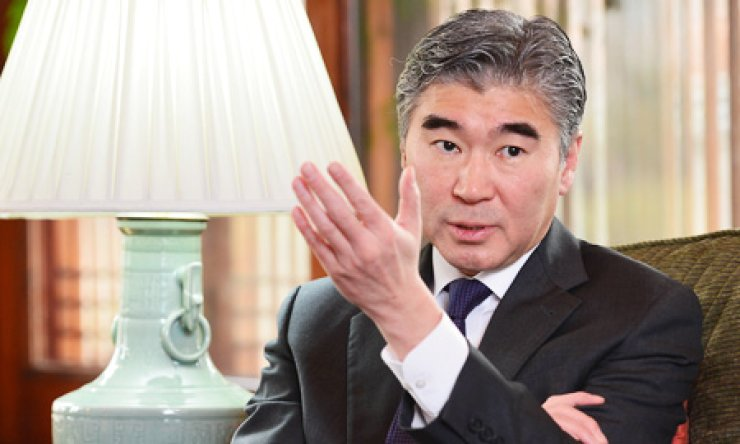 U.S. Ambassador to Korea Sung Kim speaks during an interview with The Korea Times at his residence, Habib House, in downtown Seoul, Thursday./ Korea Times photo by Shim Hyun-chul
