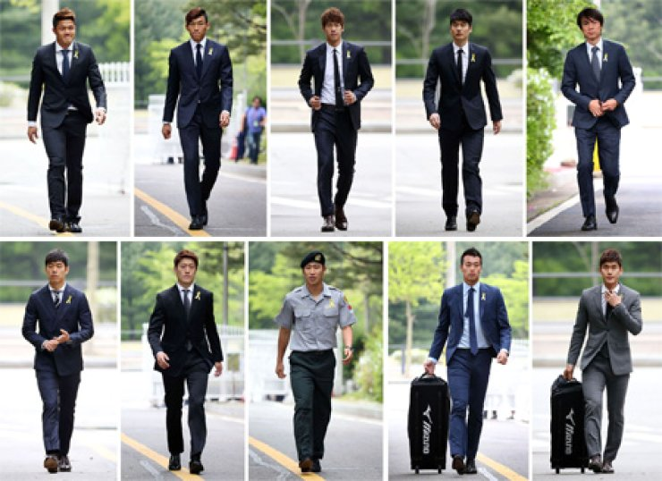 Members of the Korean World Cup football team arrive at the National Football Center in Paju, Gyeonggi Province, on Monday as manager Hong Myung-bo opened his pre-tournament training camp. Nine players from Hong's 23-man roster arrived in Paju on Monday and are expected to be joined by their teammates playing in European and Asian leagues. Clockwise from top left are goalkeepers Jung Sung-ryong, Kim Seung-gyu and Lee Bum-young, midfielder Ki Sung-yueng, Hong, defender Lee Yong, forward  Kim Shin-wook, forward Lee Keun-ho, midfielder Lee Chung-yong, forward Park Chu-young. / Yonhap