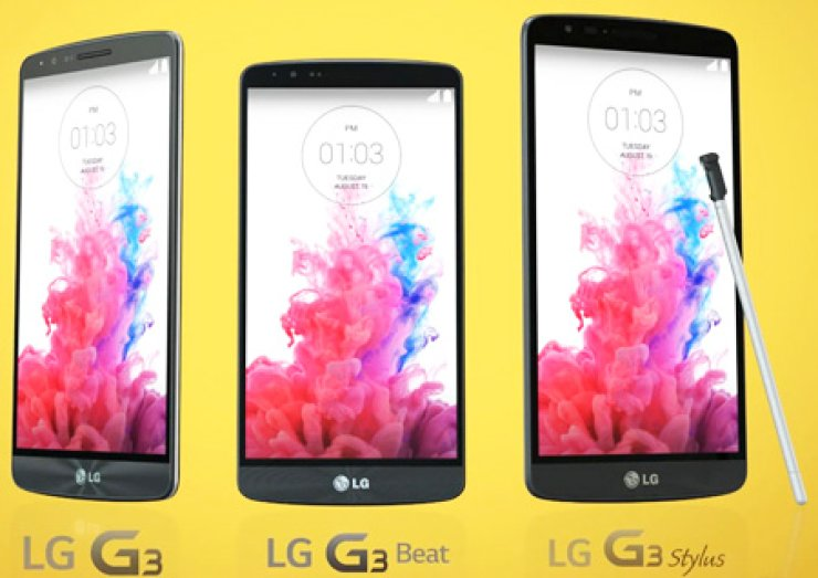 The LG G3 Stylus, right, alongside its variants, the G3 and G3 Beat./ Courtesy of LG Electronics