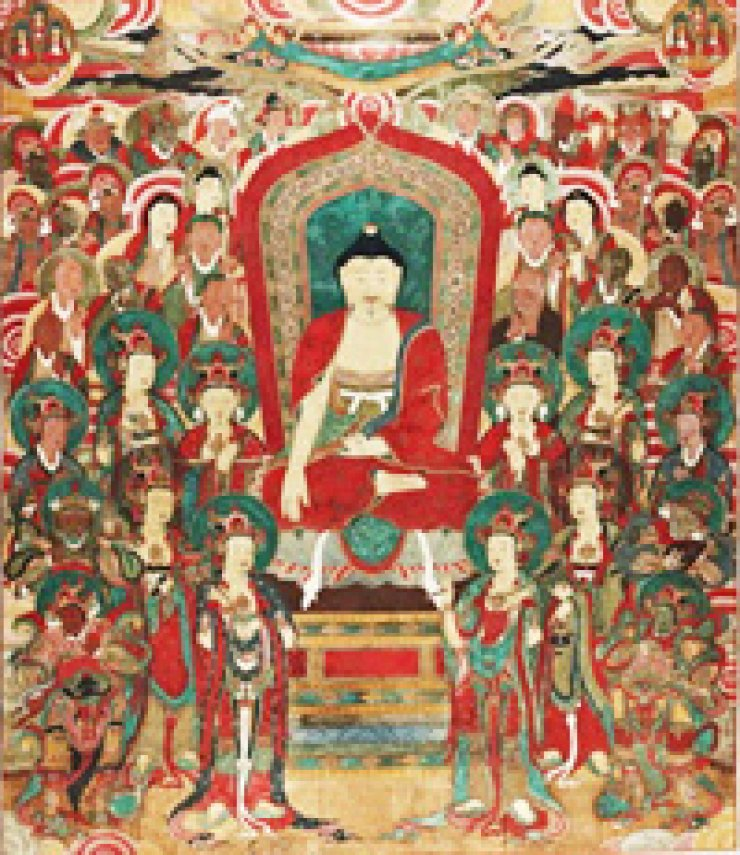 The Buddhist painting, 'Painting of the Vulture Peak Assembly,' believed to be made in 1686/ Courtesy of Jogye Order