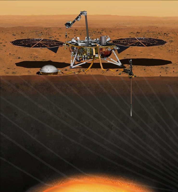 The NASA Martian lander InSight dedicated to investigating the deep interior of Mars is seen in an undated artist's rendering.  NASA on Wednesday said it would fix the InSight lander that was grounded in December due to a leak in its primary science instrument, putting the mission back on track for another launch attempt in 2018. Reuters
