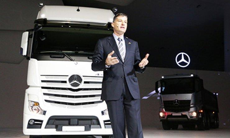 Rainer Gaertner, CEO of Daimler Trucks Korea, speaks during a launch ceremony for the company's new truck lineup at the Dongdaemun Design Plaza in downtown Seoul, Thursday. / Courtesy of Daimler Trucks Korea