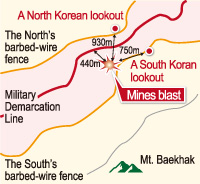 Video footage shows the moment a landmine exploded in the Demilitarized Zone on Aug. 4, wounding two South Korean soldiers./ Courtesy of the Joint Chief of Staff
