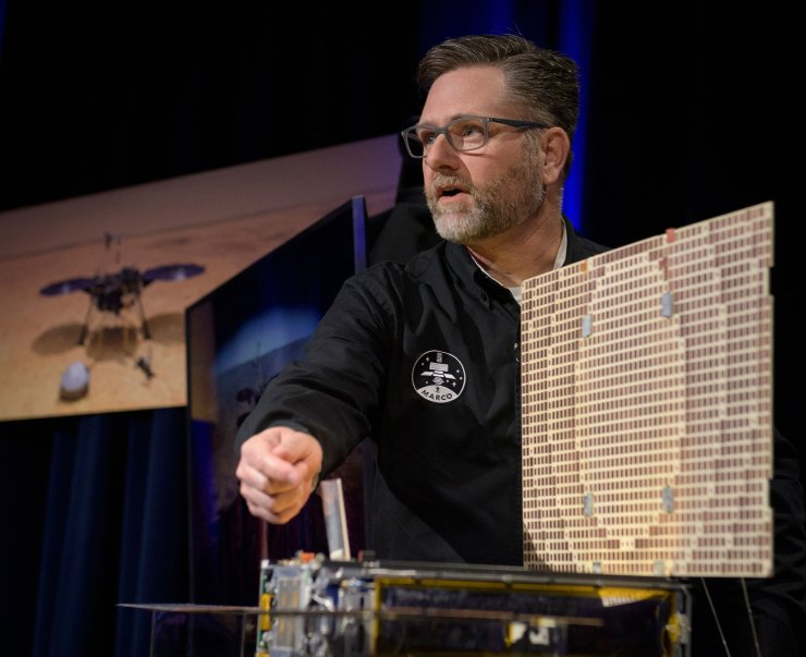 Brian Clement, Planetary Protection lead for MarCO, talks about the Mars Cube One (MarCO) during an Mars InSight pre-landing briefing, on November 25, 2018 at NASA's Jet Propulsion Laboratory in Pasadena, California. AFP