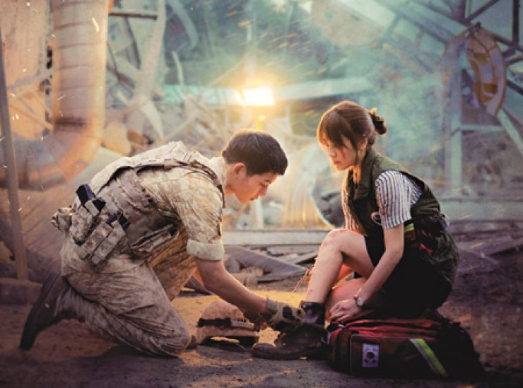 Song Joong-ki(left) and Song Hye-kyo from KBS's 'Descendants of the Sun' / Courtesy of KBS