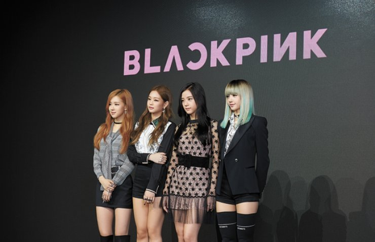 Members of YG Entertainment's new idol girl group BLACKPINK attend a press conference at Moss Studio in Gangnam, southern Seoul, Monday. From left are Rose, Jennie, Jisoo and Lisa. / Courtesy of YG Entertainment