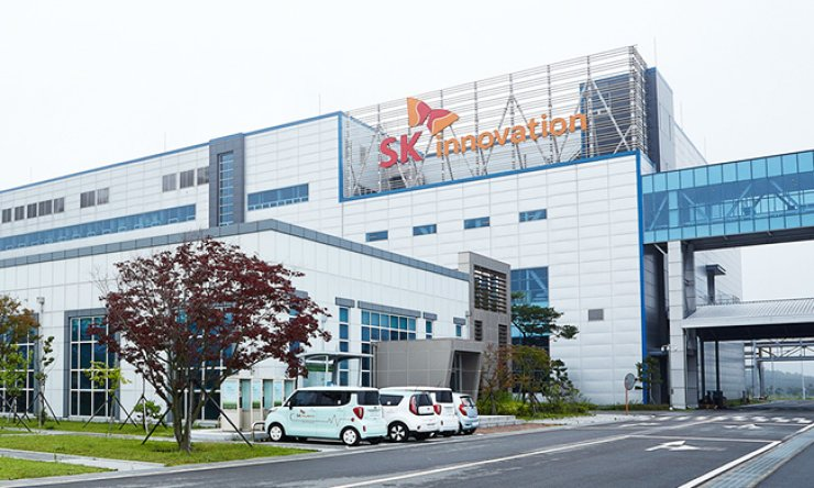 SK Innovation's electric vehicle battery cell plant in Seosan, South Chungcheong Province
