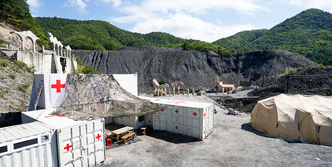 A building that was part of a military camp drama set built on an old mine site in Taebaek, Gangwon Province, for the filming of TV series, 'Descendants of the Sun.' Taebaek City plans to rebuild the filming set, which was torn down after shooting ended in November, as demand for visits to the area from fans of the drama is soaring./ Courtesy of Taebaek City